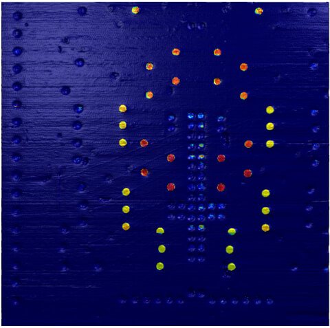 Several of the transistor contacts show a clear electric conductivity in the C-AFM image in contact mode
