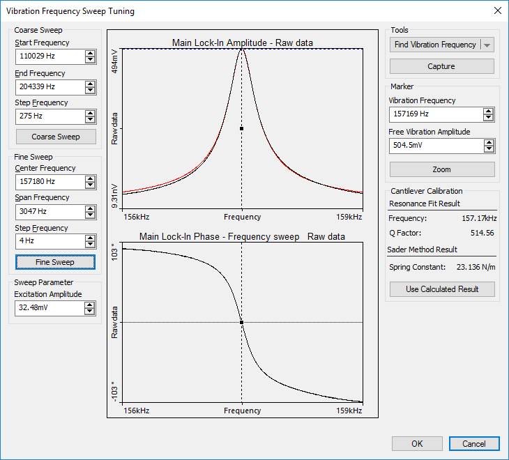 virbration frequency sweep tuning software screenshot