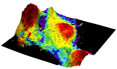 Elastic modulus mapped to the 3D topography