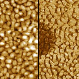 Left: Topography (Scan range 1 µm x 1 µm; Z range 0.4 nm)