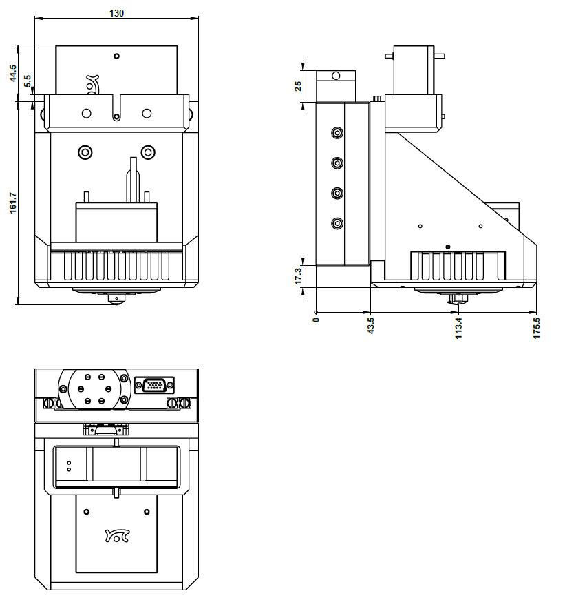 Flex-Mount scan head dimensions