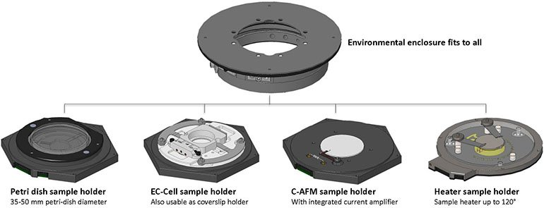 CoreAFM available types of sample holders