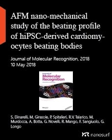 AFM nano‐mechanical study of the beating profile of hiPSC‐derived cardiomyocytes beating bodies WT and DM1