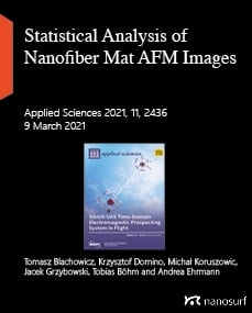 Statistical analysis of periodic fibrous structures by AFM