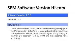 SPM control software version history