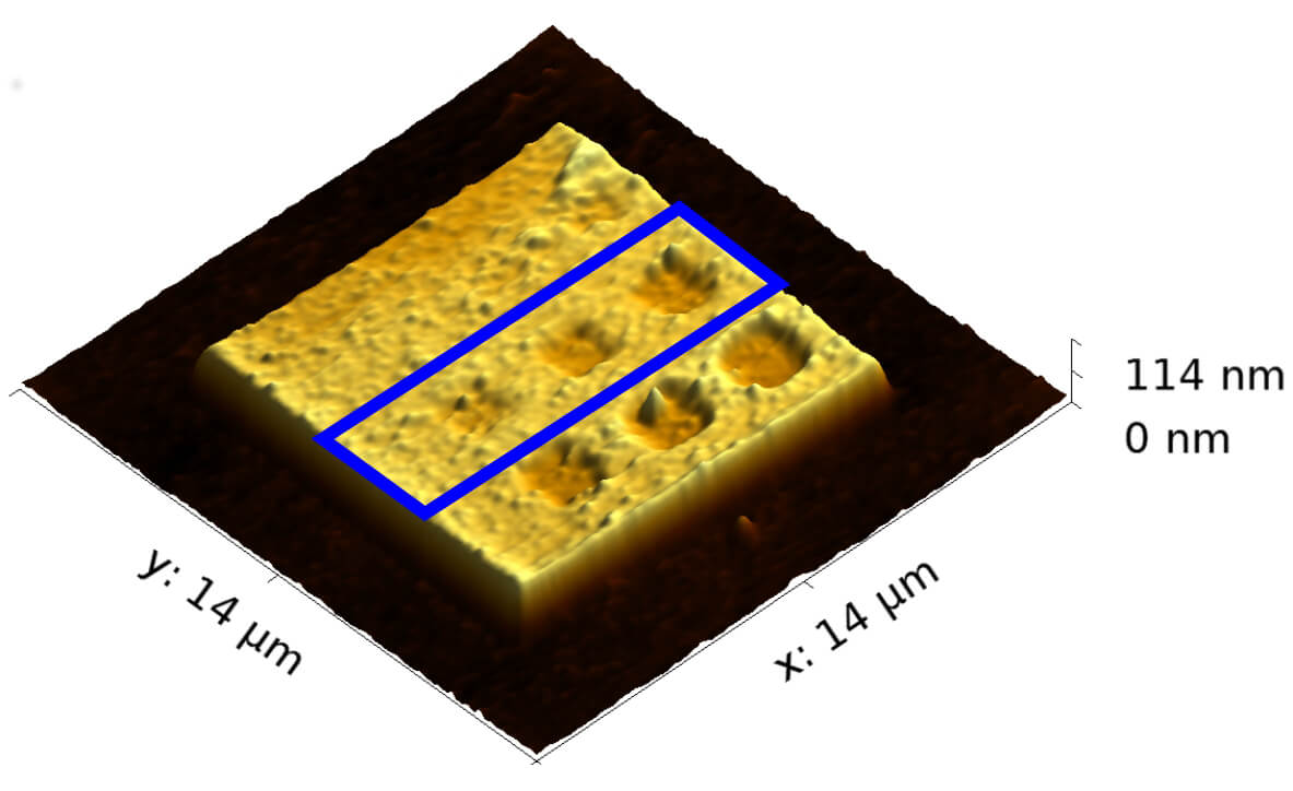 3D topography of Pt(C) film