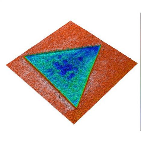 MoS2 monolayer:  3D topography overlaid with KPFM signal