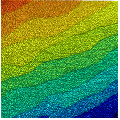 Topography of SrTiO3 in dynamic mode